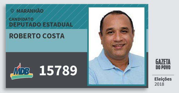 Santinho Roberto Costa 15789 (MDB) Deputado Estadual   Maranhão   Eleições 2018
