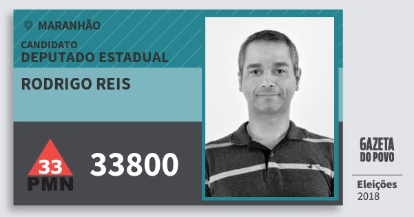 Santinho Rodrigo Reis 33800 (PMN) Deputado Estadual | Maranhão | Eleições 2018