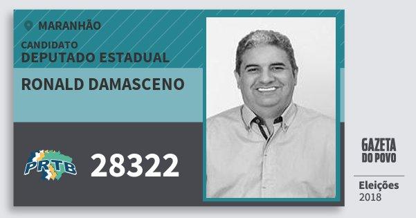 Santinho Ronald Damasceno 28322 (PRTB) Deputado Estadual | Maranhão | Eleições 2018