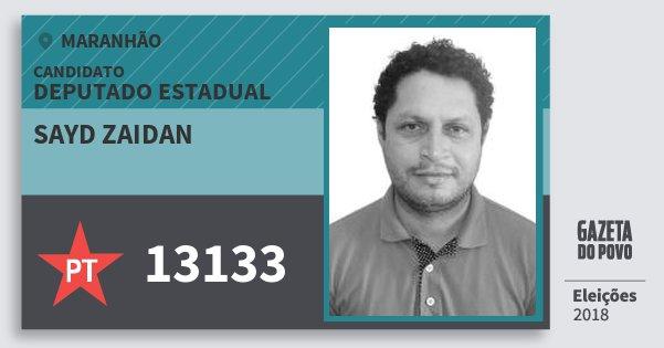 Santinho Sayd Zaidan 13133 (PT) Deputado Estadual | Maranhão | Eleições 2018