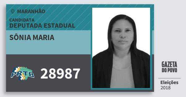 Santinho Sônia Maria 28987 (PRTB) Deputada Estadual | Maranhão | Eleições 2018
