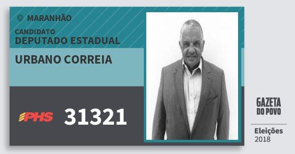 Santinho Urbano Correia 31321 (PHS) Deputado Estadual | Maranhão | Eleições 2018