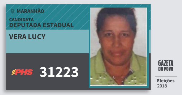 Santinho Vera Lucy 31223 (PHS) Deputada Estadual | Maranhão | Eleições 2018