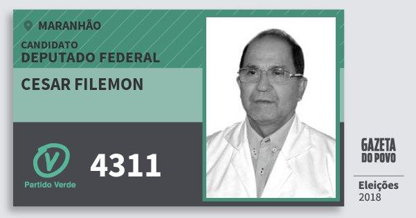 Santinho Cesar Filemon 4311 (PV) Deputado Federal | Maranhão | Eleições 2018