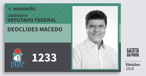 Santinho Deoclides Macedo 1233 (PDT) Deputado Federal | Maranhão | Eleições 2018