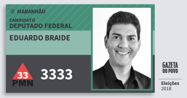 Santinho Eduardo Braide 3333 (PMN) Deputado Federal | Maranhão | Eleições 2018