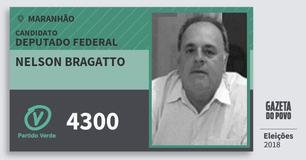 Santinho Nelson Bragatto 4300 (PV) Deputado Federal | Maranhão | Eleições 2018