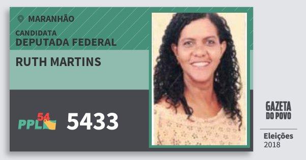 Santinho Ruth Martins 5433 (PPL) Deputada Federal | Maranhão | Eleições 2018