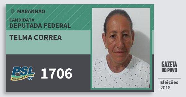 Santinho Telma Correa 1706 (PSL) Deputada Federal | Maranhão | Eleições 2018