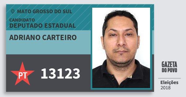 Santinho Adriano Carteiro 13123 (PT) Deputado Estadual | Mato Grosso do Sul | Eleições 2018