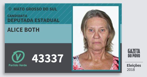 Santinho Alice Both 43337 (PV) Deputada Estadual | Mato Grosso do Sul | Eleições 2018