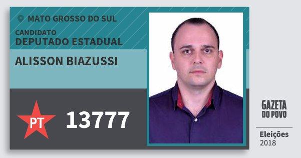 Santinho Alisson Biazussi 13777 (PT) Deputado Estadual | Mato Grosso do Sul | Eleições 2018