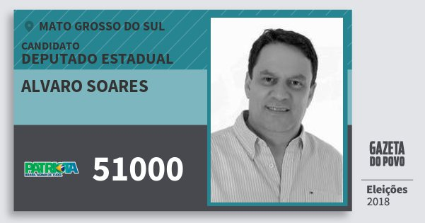 Santinho Alvaro Soares 51000 (PATRI) Deputado Estadual   Mato Grosso do Sul   Eleições 2018