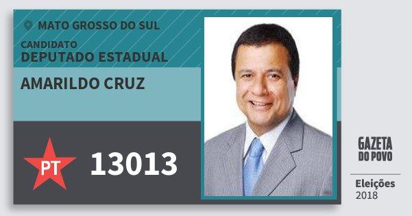 Santinho Amarildo Cruz 13013 (PT) Deputado Estadual | Mato Grosso do Sul | Eleições 2018