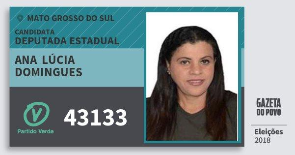 Santinho Ana  Lúcia Domingues 43133 (PV) Deputada Estadual | Mato Grosso do Sul | Eleições 2018