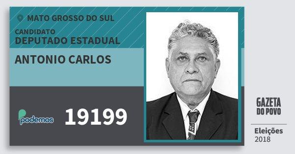 Santinho Antonio Carlos 19199 (PODE) Deputado Estadual | Mato Grosso do Sul | Eleições 2018