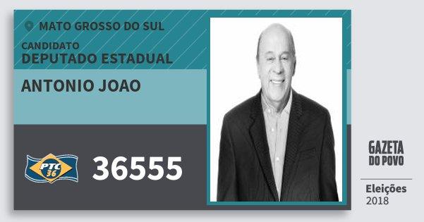 Santinho Antonio Joao 36555 (PTC) Deputado Estadual | Mato Grosso do Sul | Eleições 2018