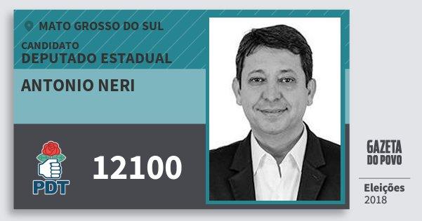 Santinho Antonio Neri 12100 (PDT) Deputado Estadual | Mato Grosso do Sul | Eleições 2018