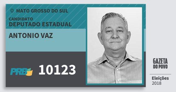 Santinho Antonio Vaz 10123 (PRB) Deputado Estadual | Mato Grosso do Sul | Eleições 2018