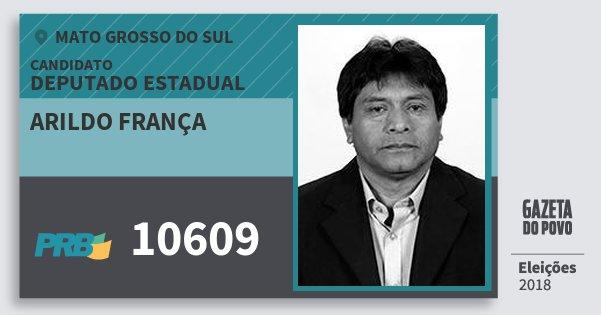 Santinho Arildo França 10609 (PRB) Deputado Estadual | Mato Grosso do Sul | Eleições 2018