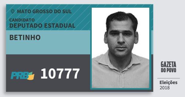 Santinho Betinho 10777 (PRB) Deputado Estadual | Mato Grosso do Sul | Eleições 2018