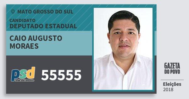 Santinho Caio Augusto Moraes 55555 (PSD) Deputado Estadual | Mato Grosso do Sul | Eleições 2018