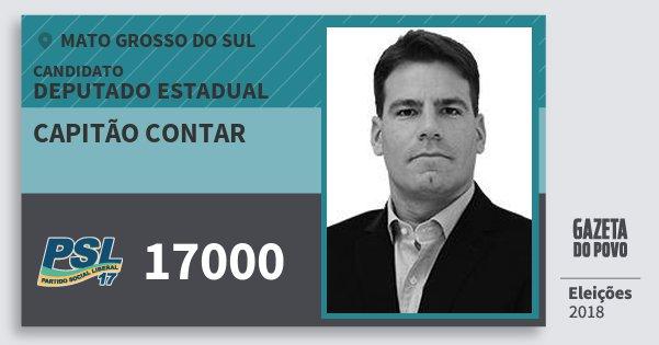 Santinho Capitão Contar 17000 (PSL) Deputado Estadual | Mato Grosso do Sul | Eleições 2018