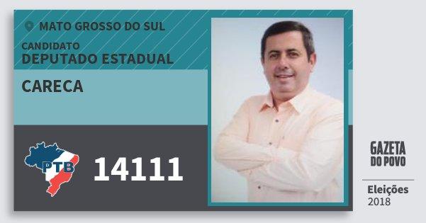 Santinho Careca 14111 (PTB) Deputado Estadual | Mato Grosso do Sul | Eleições 2018