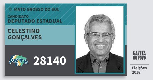 Santinho Celestino Gonçalves 28140 (PRTB) Deputado Estadual | Mato Grosso do Sul | Eleições 2018