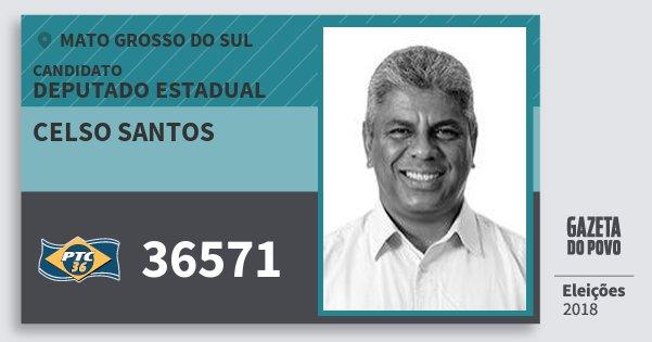 Santinho Celso Santos 36571 (PTC) Deputado Estadual | Mato Grosso do Sul | Eleições 2018
