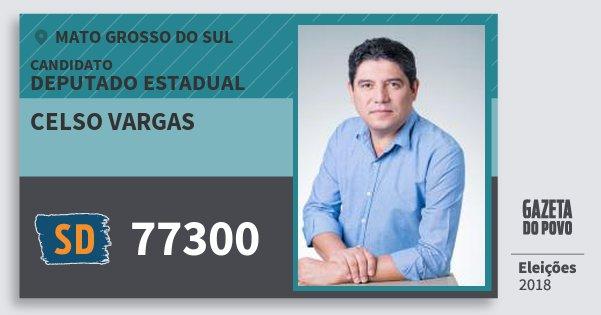 Santinho Celso Vargas 77300 (SOLIDARIEDADE) Deputado Estadual | Mato Grosso do Sul | Eleições 2018