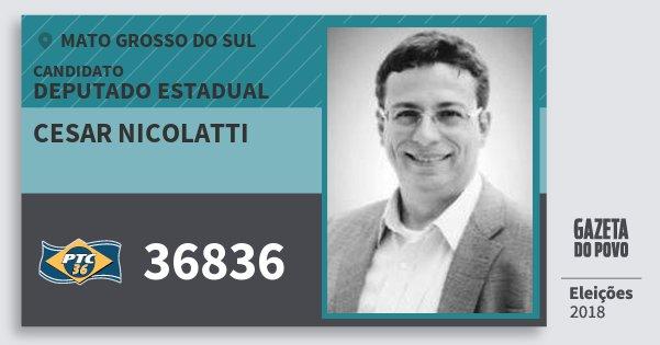 Santinho Cesar Nicolatti 36836 (PTC) Deputado Estadual | Mato Grosso do Sul | Eleições 2018
