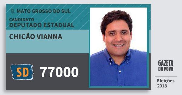 Santinho Chicão Vianna 77000 (SOLIDARIEDADE) Deputado Estadual | Mato Grosso do Sul | Eleições 2018