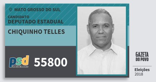 Santinho Chiquinho Telles 55800 (PSD) Deputado Estadual | Mato Grosso do Sul | Eleições 2018
