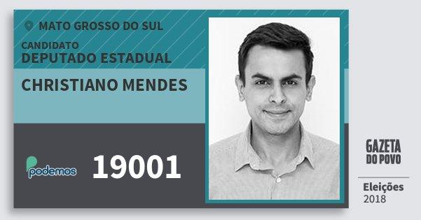 Santinho Christiano Mendes 19001 (PODE) Deputado Estadual | Mato Grosso do Sul | Eleições 2018