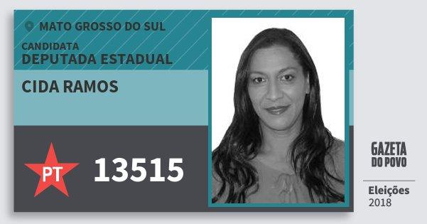 Santinho Cida Ramos 13515 (PT) Deputada Estadual | Mato Grosso do Sul | Eleições 2018