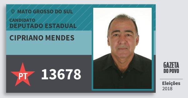 Santinho Cipriano Mendes 13678 (PT) Deputado Estadual | Mato Grosso do Sul | Eleições 2018