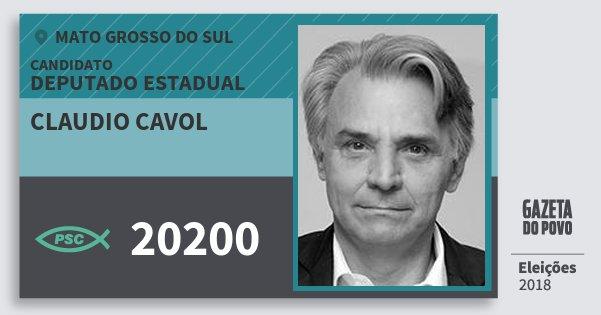 Santinho Claudio Cavol 20200 (PSC) Deputado Estadual | Mato Grosso do Sul | Eleições 2018