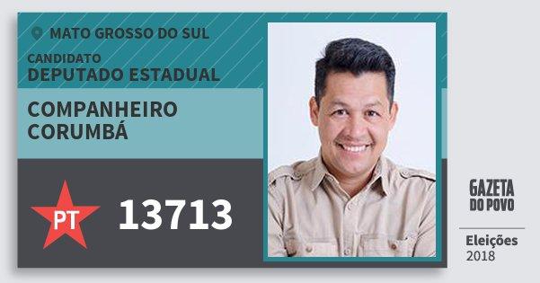 Santinho Companheiro Corumbá 13713 (PT) Deputado Estadual | Mato Grosso do Sul | Eleições 2018