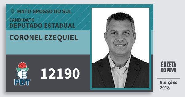 Santinho Coronel Ezequiel 12190 (PDT) Deputado Estadual | Mato Grosso do Sul | Eleições 2018
