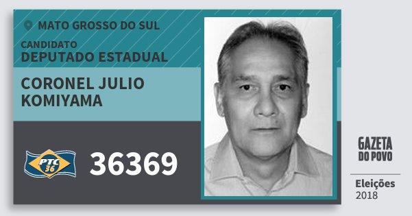 Santinho Coronel Julio Komiyama 36369 (PTC) Deputado Estadual | Mato Grosso do Sul | Eleições 2018