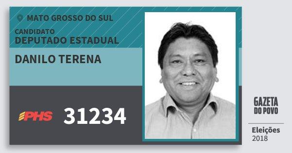 Santinho Danilo Terena 31234 (PHS) Deputado Estadual | Mato Grosso do Sul | Eleições 2018