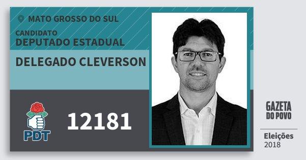 Santinho Delegado Cleverson 12181 (PDT) Deputado Estadual | Mato Grosso do Sul | Eleições 2018