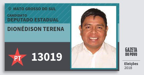 Santinho Dionédison Terena 13019 (PT) Deputado Estadual | Mato Grosso do Sul | Eleições 2018