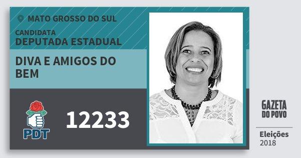 Santinho Diva e Amigos do Bem 12233 (PDT) Deputada Estadual   Mato Grosso do Sul   Eleições 2018