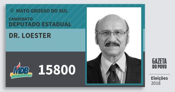 Santinho Dr. Loester 15800 (MDB) Deputado Estadual | Mato Grosso do Sul | Eleições 2018