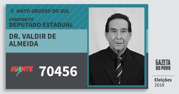 Santinho Dr. Valdir de Almeida 70456 (AVANTE) Deputado Estadual | Mato Grosso do Sul | Eleições 2018