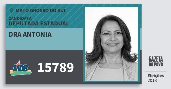 Santinho Dra Antonia 15789 (MDB) Deputada Estadual | Mato Grosso do Sul | Eleições 2018