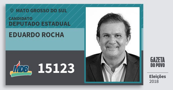 Santinho Eduardo Rocha 15123 (MDB) Deputado Estadual | Mato Grosso do Sul | Eleições 2018