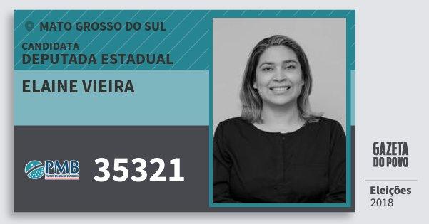 Santinho Elaine Vieira 35321 (PMB) Deputada Estadual | Mato Grosso do Sul | Eleições 2018